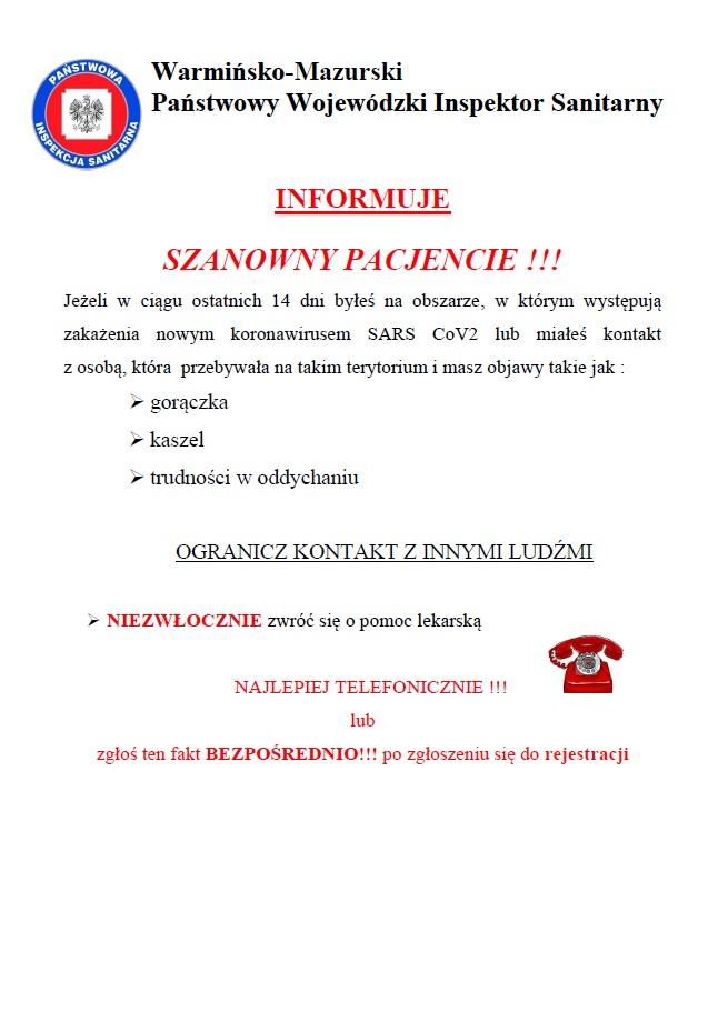 Ilustracja do informacji: Informacja Głównego Inspektora Sanitarnego dla osób powracających z północnych Włoch